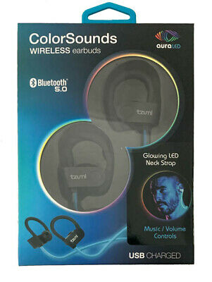 TZUMI Wireless Bluetooth Headsets with ColorSounds Aura LED Lights Neck Strap