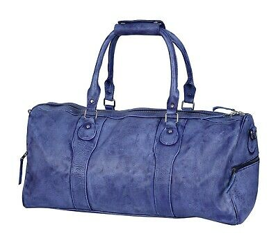 100 Genuine Leather Vintage Two Tone PurpleSky Blue Travel Duffle Bag