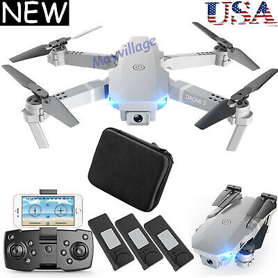 FPV Wifi RC Drone Wide Angle HD 4K Camera Foldable Quadcopter Selfie - 3 Battery