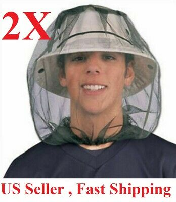 2PCS Anti-Mosquito Bug Bee Insect Head Net Hat Cap Sun Protection Fishing Hiking