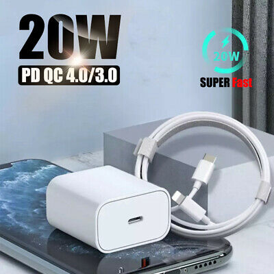 For Apple iPhone 12 Pro Max iPad 20W Fast Charger USB C PD Type-C AdapterCable