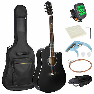 Black 41 Full Size Beginner Acoustic Guitar with Case Strap Capo Strings Tuner