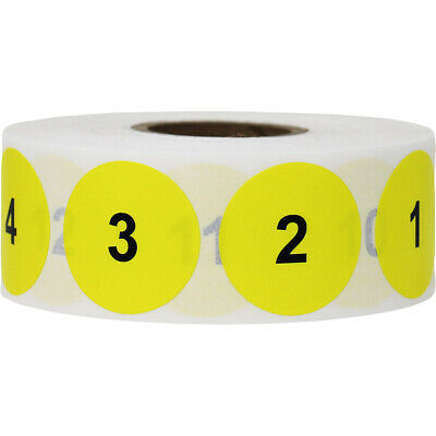 Yellow - Black Consecutive Number Inventory Labels 1 - 1000  1 inch Round