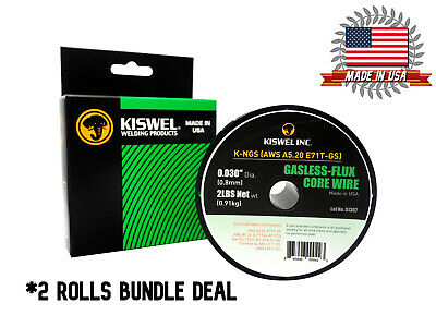 Made in USA 2 Rolls E71T-GS -030 in- Dia 2lb- Gasless-Flux Core Wire Welding