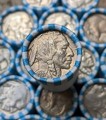 1 Buffalo Nickel Coin Roll - FULL DATE - Vintage PDS Old US Mixed Date Coin Lot