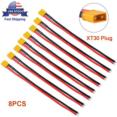 8pcs XT30 Plug Male Connector 150mm 16AWG Silicone Wire for Battery Charging