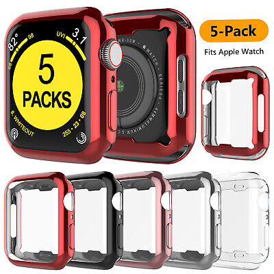 5 Pack for Apple Watch Series 654SE32 Protector Case 44404238mm Cover
