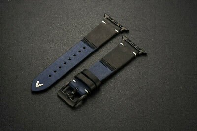 Color Contrast Leather Wrist Watch Band Strap For Apple Watch SE Series 6543