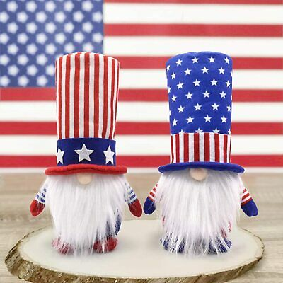 2PCS Patriotic Gnome American Dolls Toys 4th of July Independent Day Home Decor