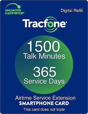 TracFone 1 Year 365 Days Service Digital Refill 1500 Minutes Only Smartphones