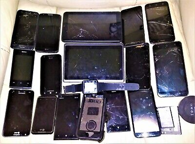 LOT OF 14 CELL PHONES 2 TABLETS WATCH OTTER BOX BATTERIES FOR PARTS ONLY