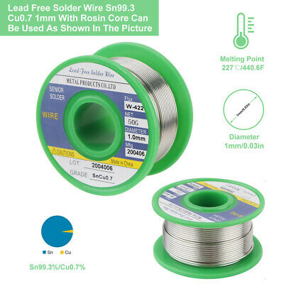 2pcs Lead Free Soldering Solder Wire Sn99-3 Cu0-7 1-0mm with Rosin Core 50g US