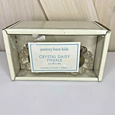 Vintage NOS Finials enbouts NEW Pottery Barn Kids Crystal Clear Daisy New In Box
