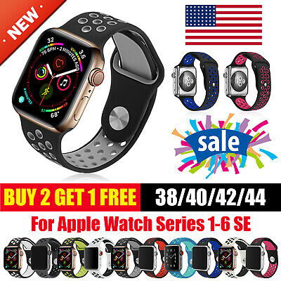 For Apple Watch Sport Band Silicone iWatch Series 6 SE 5 4 3 2 1 38404244mm