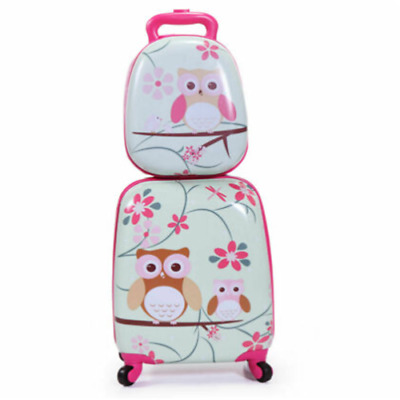 Pink Kids Suitcase- 2 Piece Travel Luggage 16 Tall Hardside Girls Exclusive