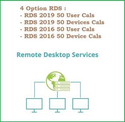 All Host RDS RDP 4 Option RDS 2016 2019 50 UserDevices Cal  no Cal StdDtc