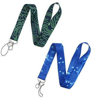 Computer Motherboard Texture Mobile Phone Lanyard Strap ID Card Keychain Holder