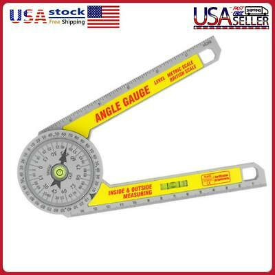 360 Degree Miter Saw Protractor wLeveling Bubble Angle Finder Gauge Ruler Tool