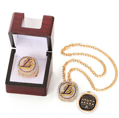 2020 OFFICIAL Los Angeles Lakers Championship Ring NBA Champions Necklace 8-13