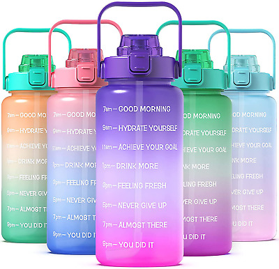 Kymbax Half Gallon64oz Water Bottle with Time Marker and Straw Motivational Wa