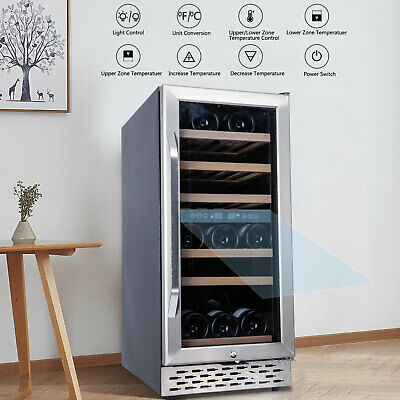 Constant Stainless Temperature Wine Cabinet Freestanding Wine Cooler 32 Bottles