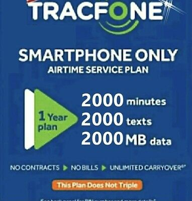 TracFone 1 Year Service Plan - 365 Days - 2000 Minutes 2000 Text 2000 Data