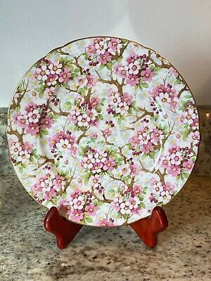 SHELLEY  MAYTIME CHINTZ SHAPE 8 BREAD - BUTTER PLATE GOLD TRIM HTF