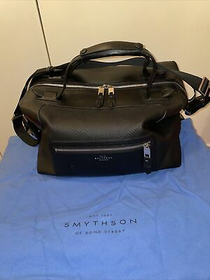 Smythson of Bond Street Greenwich Large Leather - Cotton Holdall Duffle Black
