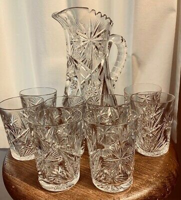 ANTIQUE VICTORIAN AMERICAN BRILLIANT CUT LEAD GLASS PITCHER WITH 8 TUMBLERS