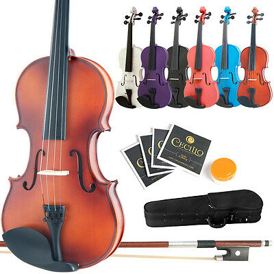 Mendini Student Violin Package in 7 Finishes - 8 Sizes -Case-Bow-Extra Strings