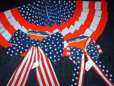 NWT Fourth of July Memorial Day Patriotic Stars - Stripes Flag Bows or Bunting