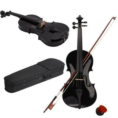 44 Full Size Acoustic Violin Fiddle Black with Case Bow Rosin w Gift