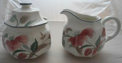 Mikasa SILK FLOWERS Sugar bowl with lid and Creamer F3003 A-