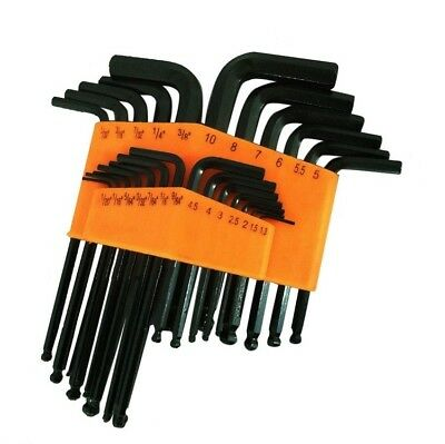 25 Piece Ball End Long Arm Hex Key Allen L Wrench Driver SAE - Metric Set New