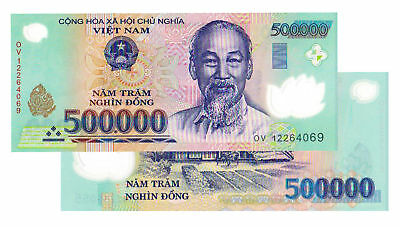 1000000 VIETNAM DONG 2x 500000 BANK NOTE VIETNAMESE CURRENCY UNCIRCULATED