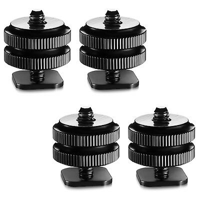 4x 14 Mount Adapter for Tripod Screw To Flash Hot Shoe Black