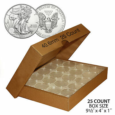 25 Direct Fit Airtight 40-6mm Coin Holders Capsule For 1oz US SILVER EAGLE wBOX