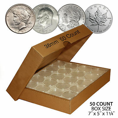 50 MORGAN DOLLAR Direct-Fit Airtight 38mm Coin Capsule Holder QTY 50 with BOX