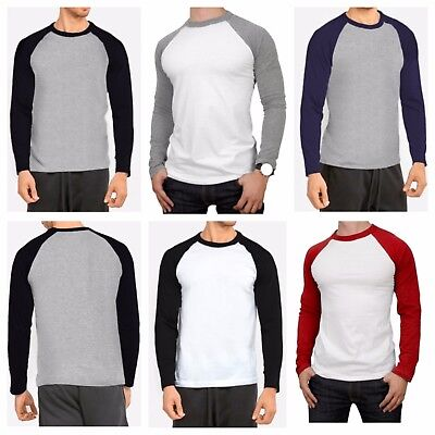 Mens Long Sleeve T-shirt Baseball Raglan Casual Workout Fashion Crew Neck Tee