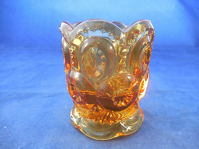 VINTAGE L-E-SMITH MOON AND STARS AMBER TOOTHPICK HOLDER 2 38