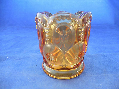 VINTAGE L-E-SMITH MOON AND STARS AMBER TOOTHPICK HOLDER 2 14