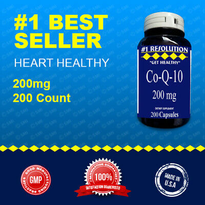 CoQ-10 200mg 200 Caps Coq10 Co Q10 Coenzyme Anti Aging Cardiovascular Made USA