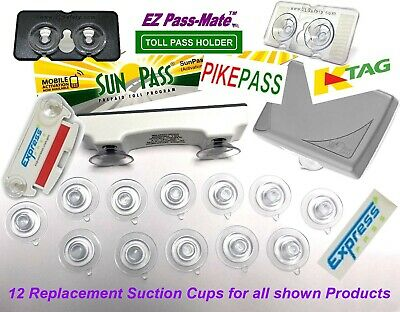 Replacement Suction Cups for SunPass PikePass K-Tag - Express Pass- 12 pack