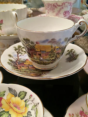 REGENCY Country Scenery Fine Bone China Teacup and Saucer