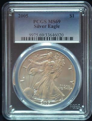 2005 PCGS MS69  AMERICAN EAGLE Walking Liberty Silver Dollar Coin