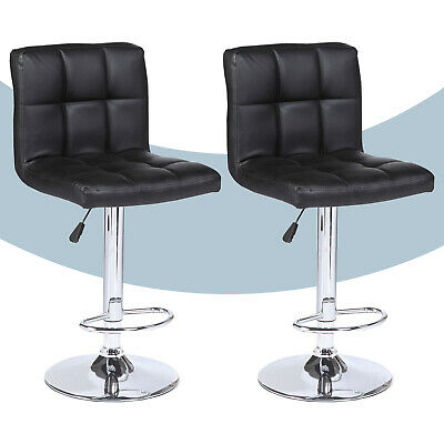 Set of 2 Modern Design Bar Stools Swivel Leather Adjustable Pub Chair In Black