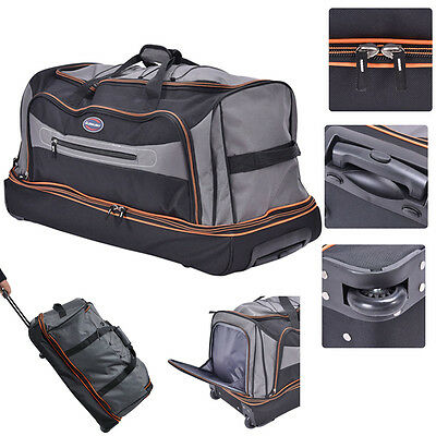 30 Drop Bottom Rolling Wheeled Duffel Bag Carry On Luggage Travel Suitcase