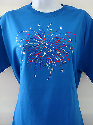 Embellished Firework Rhinestone Womens T-shirts M L XL 2XL 3XL 4th of July