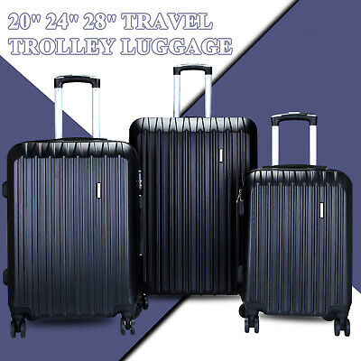 3Pcs Luggage Travel Set Bag ABS Trolley Spinner Suitcase TSA Expandable Lock