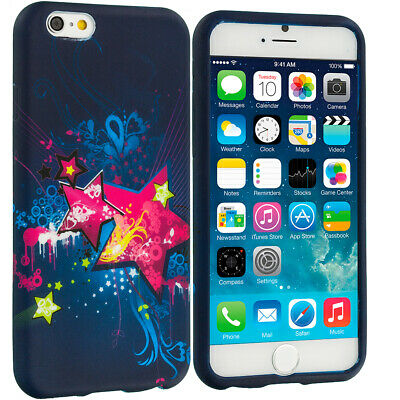 For Apple iPhone 6 4-7 TPU Design Silicone Soft Case Cover Pink Blue Star